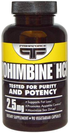 Yohimbine HCl, 2.5 mg, 90 Veggie Caps by Primaforce, 健康,男人,育亨賓,飲食 HK 香港