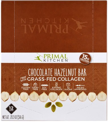 Chocolate Hazelnut, Grass-Fed Collagen, 12 Bars, 1.7 oz (48 g) Each by Primal Kitchen, 健康,骨骼,骨質疏鬆症,膠原蛋白 HK 香港