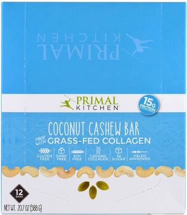 Coconut Cashew, Grass-Fed Collagen, 12 Bars, 1.7 oz (49 g) Each by Primal Kitchen, 健康,骨骼,骨質疏鬆症,膠原蛋白 HK 香港