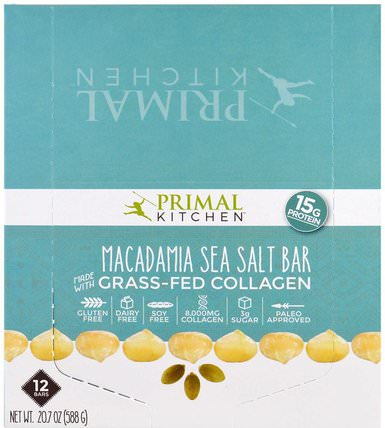 Macadamia Sea Salt, Grass-Fed Collagen, 12 Bars, 1.7 oz (49 g) Each by Primal Kitchen, 健康,骨骼,骨質疏鬆症,膠原蛋白 HK 香港