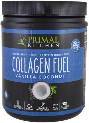 Ultra Repair High Protein Drink Mix, Collagen Fuel, Vanilla Coconut, 14 oz (396 g) by Primal Kitchen, 補充劑,蛋白質,骨骼,骨質疏鬆症,膠原蛋白 HK 香港