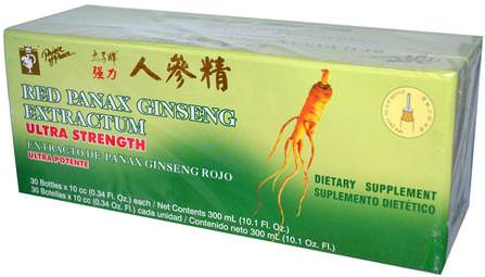 Red Panax Ginseng Extractum, Ultra Strength, 30 Bottles, 0.34 fl oz (10 cc) Each by Prince of Peace, 補充劑,adaptogen,感冒和病毒,人參三七 HK 香港