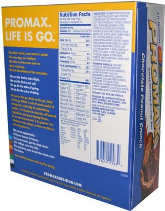 Energy Bars, Chocolate Peanut Crunch, 12 Bars, 2.64 oz (75 g) Each by Promax Nutrition, 運動,蛋白質棒,代餐奶昔 HK 香港