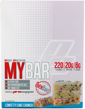 My Bar, Confetti Cake Crunch, 12 Bars, 23.30 oz (660 g) by ProSupps, 補品,營養棒,運動 HK 香港