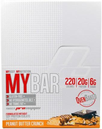 ProSupps, My Bar, Peanut Butter Crunch, 12 Bars, 11.64 oz (330 g) 運動,蛋白質棒,小吃,健康零食