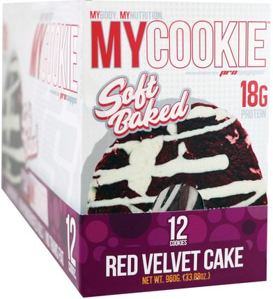 My Cookie, Red Velvet Cake, 12 Cookies, 2.82 oz (80 g) Each by ProSupps, 食物,小吃,運動 HK 香港