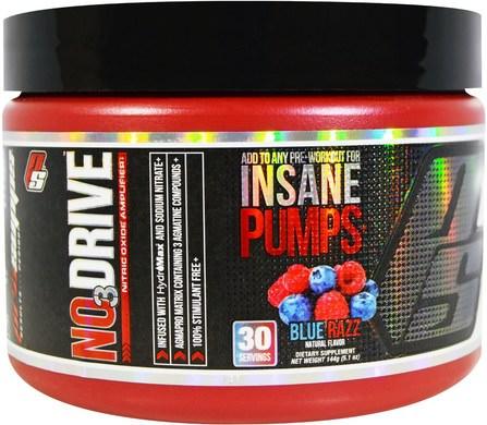 ProSupps, NO3 Drive, Nitric Oxide Amplifier, Blue Razz, 5.1 oz (144 g) 運動,鍛煉,肌肉