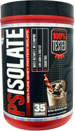 PSIsolate, 100% Pure Whey Protein Isolate, Cookies and Cream, 2 lbs (910 g) by ProSupps, 補充劑,乳清蛋白 HK 香港