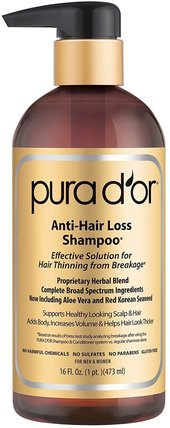 Anti-Hair Loss Shampoo, For Men and Women, All Hair Types, 16 fl oz (473 ml) by Pura Dor, 洗澡,美容,頭髮,頭皮,洗髮水,護髮素 HK 香港