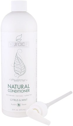 Natural Conditioner, Citrus & Mint, 16 fl oz (473 ml) by Puracy, 洗澡,美容,頭髮,頭皮,洗髮水,護髮素 HK 香港