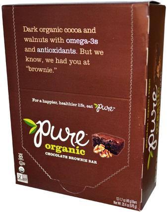 Organic Chocolate Brownie, 12 Bars, 1.7 oz (48 g) Each by Pure Bar, 食物,零食,健康零食,補品,營養棒 HK 香港