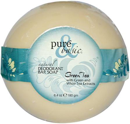 Natural Deodorant Bar Soap, Green Tea, 6.4 oz (180 g) Bar by Pure & Basic, 洗澡,美容,肥皂 HK 香港