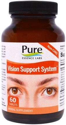 Pure Essence, Vision Support System, 60 Tablets 健康,眼部護理,視力保健,含有肌肽的眼部產品,注意力缺陷症,添加劑,adhd,長春西汀