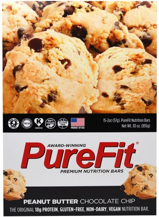 Premium Nutrition Bars, Peanut Butter Chocolate Chip, 15 Bars, 2 oz (57 g) Each by Pure Fit Bars, 運動,蛋白質棒 HK 香港