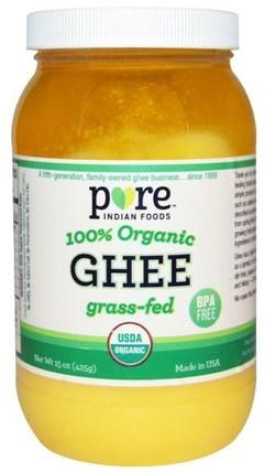 Ghee, 100% Organic Grass-Fed, 15 oz (425 g) by Pure Indian Foods, 食物,酥油,酮友好 HK 香港