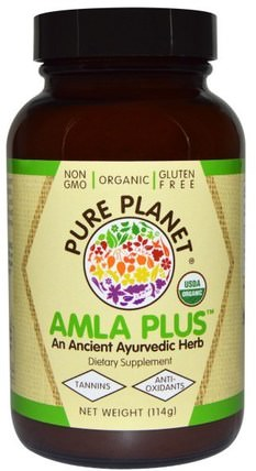 Organic Amla Plus, 114 g by Pure Planet, 維生素,維生素c,阿育吠陀,阿育吠陀草藥,amla(印度醋栗amalaki amlaki) HK 香港