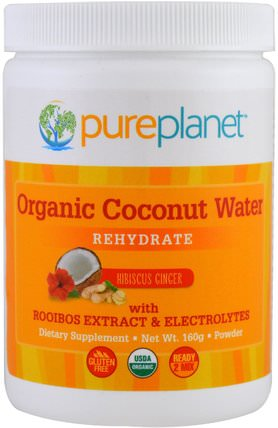 Organic Coconut Water, Rehydrate, Hibiscus Ginger, 160 g by Pure Planet, 補品,食品,椰子全,椰子水 HK 香港