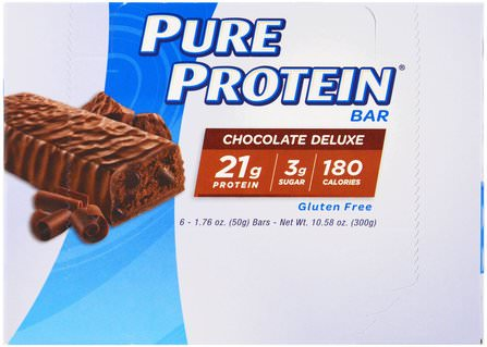 Chocolate Deluxe Bar, 6 Bars, 1.76 oz (50 g) Each by Pure Protein, 運動,蛋白質棒 HK 香港