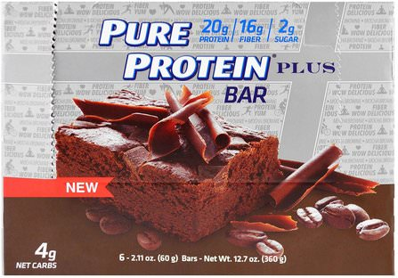 Pure Protein, Plus Bar, Mocha Brownie, 6 Bars, 2.11 oz (60 g) 運動,蛋白質棒