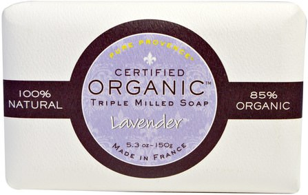 Lavender, 5.3 oz (150 g) by Pure Provence Organic Certified Organic Triple Milled Soap, 洗澡,美容,肥皂 HK 香港