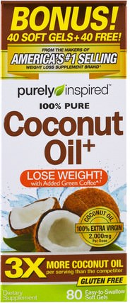 Coconut Oil+, 80 Easy-to-Swallow Soft Gels by Purely Inspired, 食物,酮友好,椰子油 HK 香港