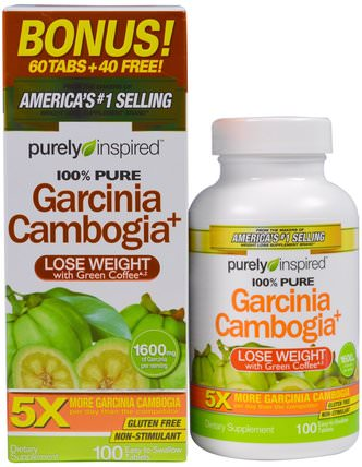 Garcinia Cambogia+, 1.600 mg, 100 Easy-To-Swallow Tablets by Purely Inspired, 減肥,飲食,藤黃果 HK 香港