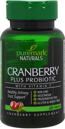 Cranberry Plus Probiotic, 60 Tablets by PureMark Naturals, 草藥,蔓越莓 HK 香港