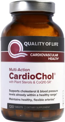 CardioChol with Plant Sterols & CoQ10-SR, Multi-Action, 120 Tablets by Quality of Life Labs, 健康,膽固醇支持,膽固醇,血壓 HK 香港