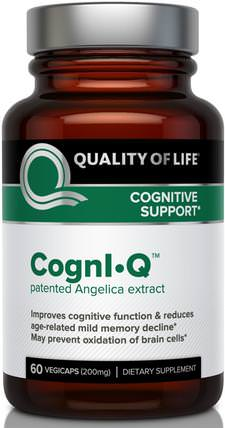 CognIQ, Cognitive Support, 200 mg, 60 Veggie Caps by Quality of Life Labs, 健康,炎症,decursinol,注意力缺陷障礙,添加,adhd,腦 HK 香港