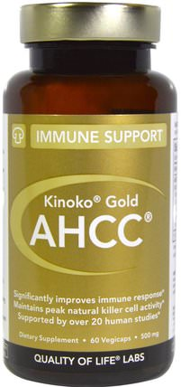 Kinoko Gold AHCC, Immune Support, 500 mg, 60 Veggie Caps by Quality of Life Labs, 補充劑,藥用蘑菇,ahcc,蘑菇膠囊 HK 香港