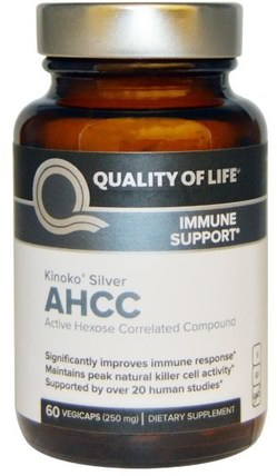 Kinoko Silver AHCC, Immune Support, 250 mg, 60 Veggie Caps by Quality of Life Labs, 補充劑,藥用蘑菇,ahcc HK 香港