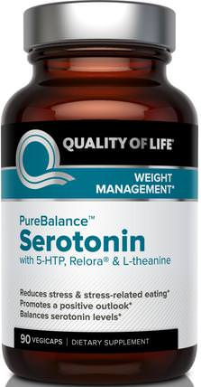 Pure Balance, Serotonin, 90 Veggie Caps by Quality of Life Labs, 補充劑,5-htp,健康,飲食 HK 香港