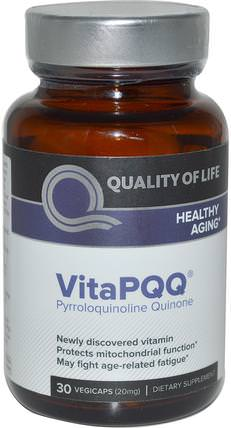 VitaPQQ, Healthy Aging, 30 Vegicaps by Quality of Life Labs, 健康,注意力缺陷障礙,添加,adhd,大腦,記憶,補品,pqq(biopqq) HK 香港