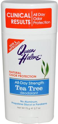 All-Day Strength Deodorant, Tea Tree, 2.7 oz (75 g) by Queen Helene, 洗澡,美容,除臭劑 HK 香港