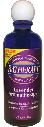 Batherapy Natural Mineral Bath Liquid, Lavender Aromatherapy, 16 fl oz (473 ml) by Queen Helene, 洗澡,美容,浴鹽 HK 香港
