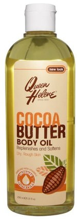 Cocoa Butter Body Oil, Enriched With Vitamin E, 10 fl oz (296 ml) by Queen Helene, 健康,皮膚,可可脂,按摩油 HK 香港