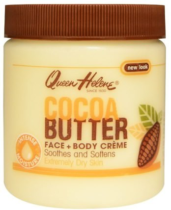 Cocoa Butter Face + Body Creme, 4.8 oz (136 g) by Queen Helene, 沐浴,美容,潤膚露,皮膚,可可脂 HK 香港