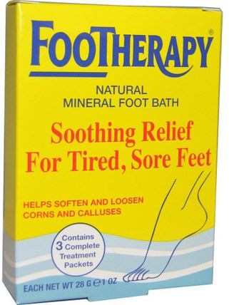 FooTherapy, Natural Mineral Foot Bath, 3 Packets, 1 oz (28 g) Each by Queen Helene, 洗澡,美容,沐浴鹽,腳部護理 HK 香港
