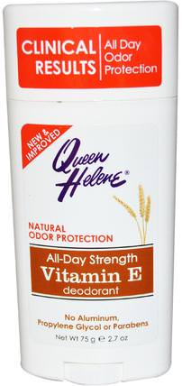 All-Day Strength Deodoran, Vitamin E, 2.7 oz (75 g) by Queen Helene, 洗澡,美容,除臭劑 HK 香港