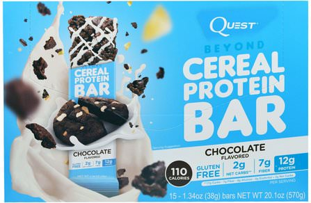 Beyond Cereal Protein Bar, Chocolate, 15 Bars, 1.34 oz (38 g) Each by Quest Nutrition, 補充劑,蛋白質棒 HK 香港