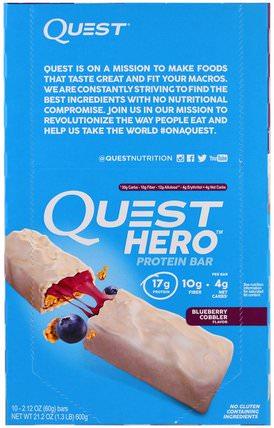 Hero Protein Bar, Blueberry Cobbler, 10 Bars, 2.12 oz (60 g) Each by Quest Nutrition, 補品,營養棒,運動 HK 香港