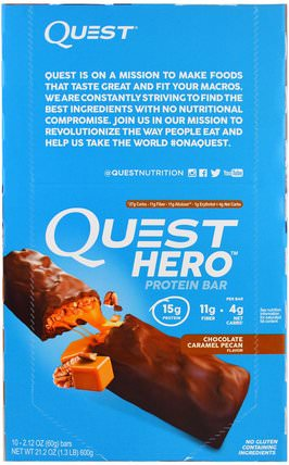 Hero Protein Bar, Chocolate Caramel Pecan, 10 Bars, 2.12 oz (60 g) Each by Quest Nutrition, 補品,營養棒,運動 HK 香港