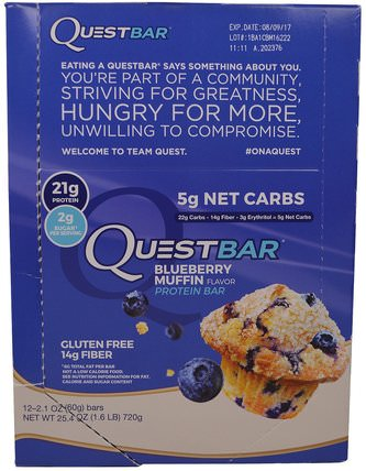 QuestBar, Protein Bar, Blueberry Muffin, 12 Bars, 2.1 oz (60 g) Each by Quest Nutrition, 補充劑,營養棒,蛋白棒 HK 香港