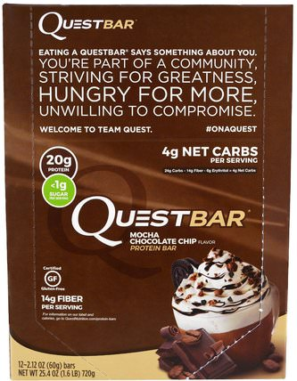 QuestBar, Protein Bar, Mocha Chocolate Chip, 12 Bars, 2.12 oz (60 g) Each by Quest Nutrition, 補品,營養棒,運動 HK 香港
