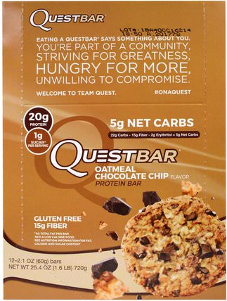 QuestBar, Protein Bar, Oatmeal Chocolate Chip, 12 Bars, 2.1 oz (60 g) Each by Quest Nutrition, 補充劑,營養棒,蛋白棒 HK 香港