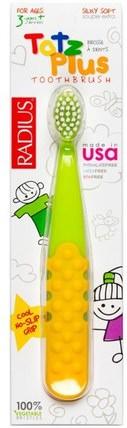 Totz Plus Toothbrush, 3+ Years, Green/Yellow, 1 Toothbrush by RADIUS, 洗澡,美容,口腔牙齒護理,牙刷,兒童健康,嬰兒口腔護理 HK 香港