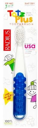 Totz Plus Toothbrush, 3+ Years, White/Blue, 1 Toothbrush by RADIUS, 洗澡,美容,口腔牙齒護理,牙刷,兒童健康,嬰兒口腔護理 HK 香港