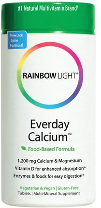 Everyday Calcium, Food-Based Formula, 120 Tablets by Rainbow Light, 補充劑,礦物質,鈣和鎂 HK 香港