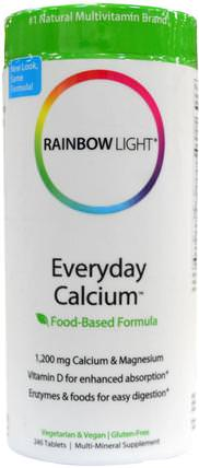 Everyday Calcium, Food-Based Formula, 240 Tablets by Rainbow Light, 補充劑,礦物質,鈣和鎂 HK 香港