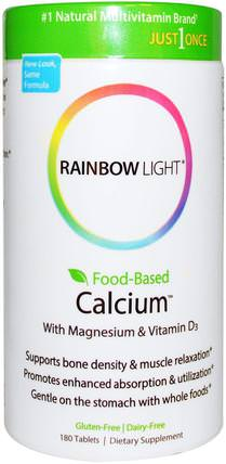 Just Once, Food-Based Calcium, 180 Tablets by Rainbow Light, 補充劑,礦物質,鈣和鎂 HK 香港